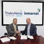Thales Alenia Space and Inmarsat at Inmarsat's HQ in London to sign the contract for the construction of the fifth Global Xpress satellite