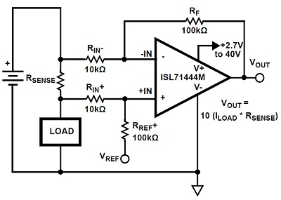 Single-supply, high-side current sense amplifier
